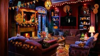 ASMR soundscape - 🎃 Cozy Halloween Party Ambience (fire, wind, spooky movie sounds) 🧛