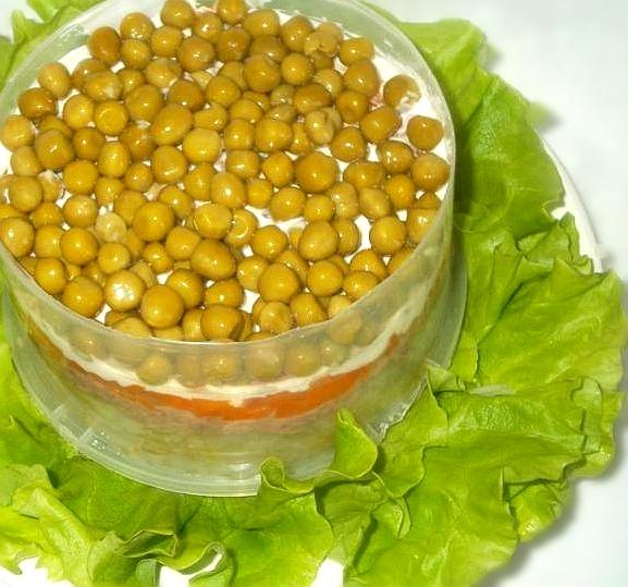 Салат слоями с печенью трески, изображение №6