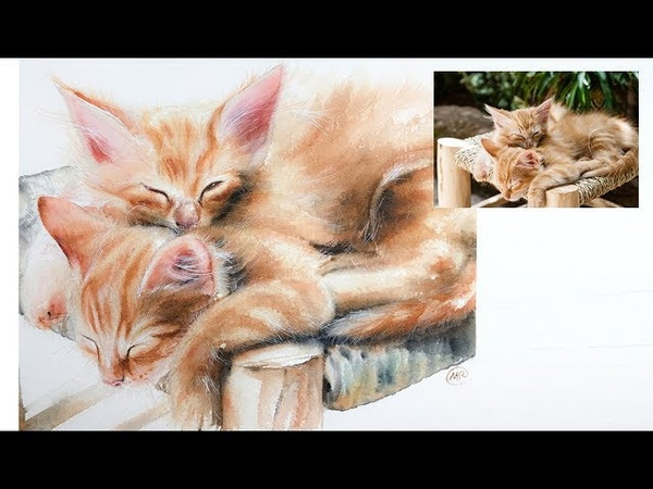 Painting of Two Kittens in Watercolor Fur and Whiskers