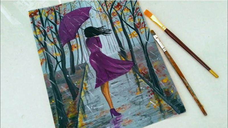 Easy Rainy season scenery drawing for beginners   A girl walking in the Rain acrylic painting  