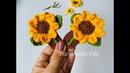 Móc kẹp tóc hoa hướng dương - how to crochet Sunflower hairpin
