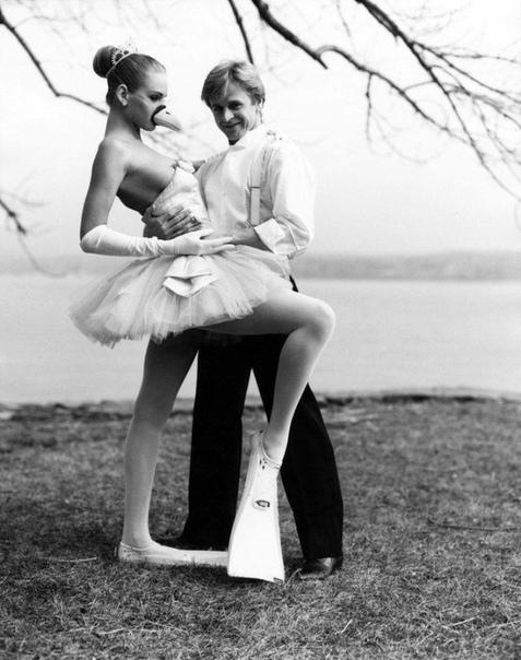 Балетный танцор Михаил Барышников и Ума Турман в ластах (США, 1987 год)