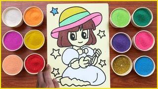 Tô tranh cát công chúa xinh đẹp đọc sách - Coloring princess reading book with colors sand