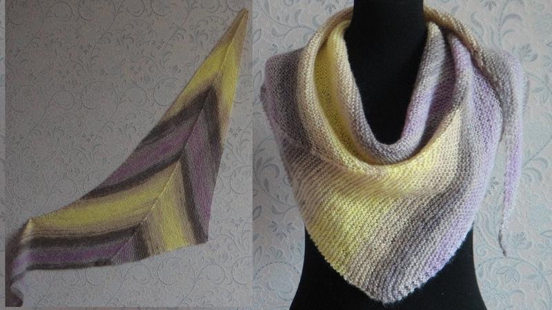 Бактус треугольная шаль спицами. Bactus knitting