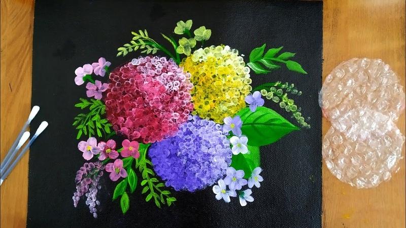 Easy Hydrangea Acrylic Painting Technique with Bubble wrap Cotton swabs Hydrangea paintin techniques