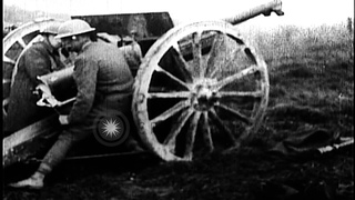 US 128th Field Artillery firing  French 75-mm guns  at Le Cotes de Forimont on  Stock Footage