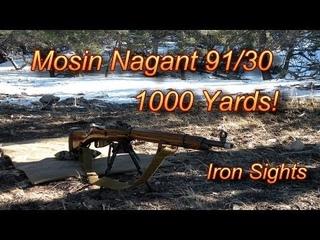 1000 Yard Shot with Iron Sights Mosin Nagant 91/30