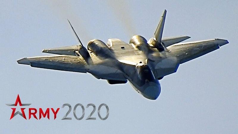 Высший пилотаж Су 57 для Министра обороны Шойгу и премьер министра Мишустина на форуме Армия 2020