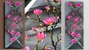 Acrylic painting magnolia on canvas for beginners How to paint tree of magnolia