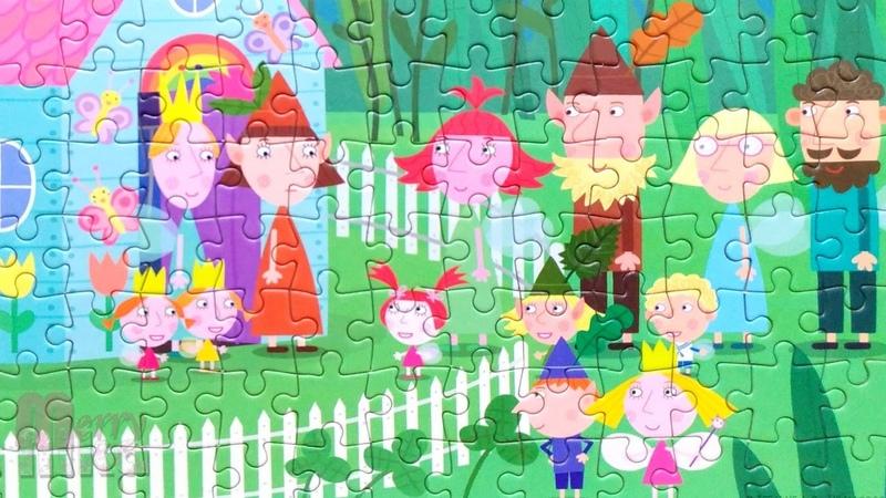 Дейзи и Поппи пошли в детский сад собираем пазлы для детей Бен и Холли