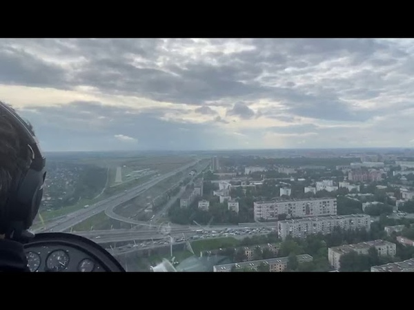 Посадка автожира в аэропорту Пулково