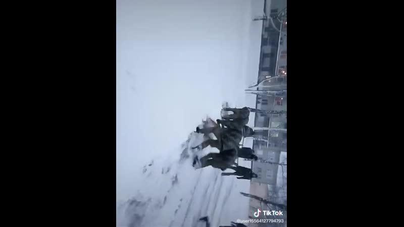 Когда выпало много снега армия кадеты курсанты