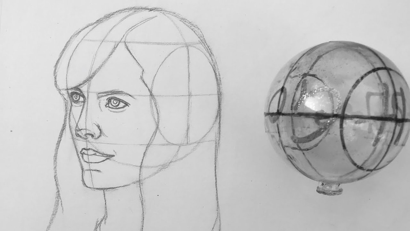 How to Draw head using Andrew Loomis method - 3/4 view