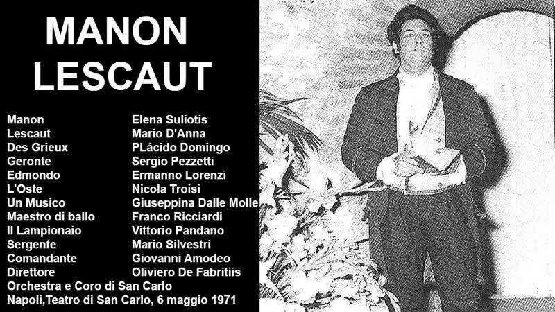 Manon Lescaut Plácido Domingo Souliotis Anna De Fabritis Napoli 1971
