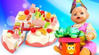 Baby Doll & toy food. Birthday cake for Funny Clown. Toy videos for kids.