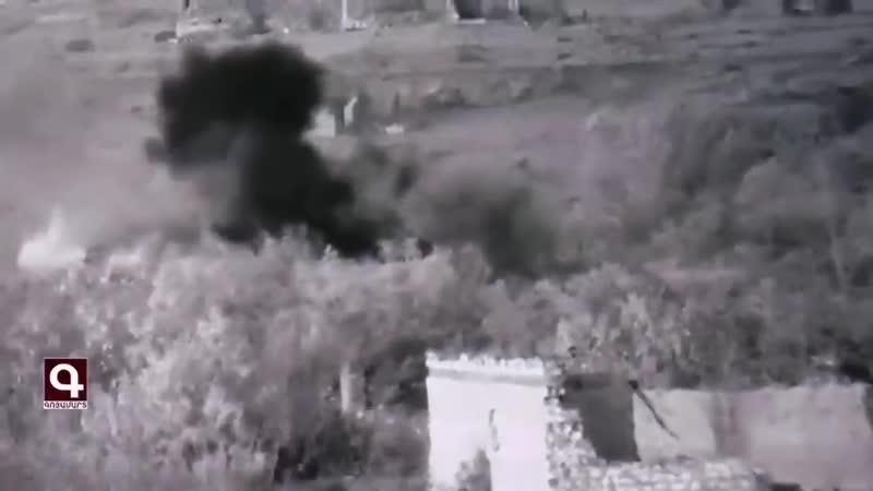 Армия обороны НКР публикует кадры артиллерийских ударов по объектам ВС Азербайджана на фронте в Карабахе br Карабах br