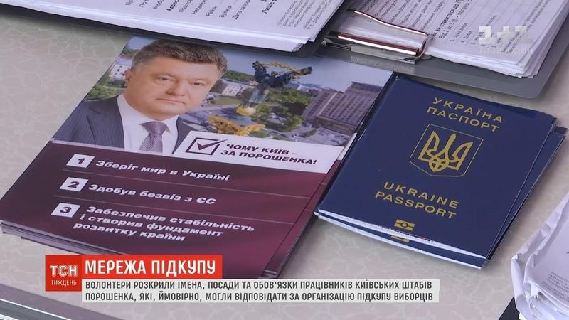 Волонтери розкрили імена працівників штабів Порошенка, які могли відповідати за підкуп виборців