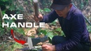 Primitive technology use life in jungle make Axe Handle from Tree