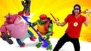Крутые игрушки для мальчиков. Боевое оружие для Черепашки ниндзя! Супергерои защищают базу игрушек.