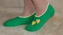 Тапочки - следки спицами без швов. Knitted slippers without seams.