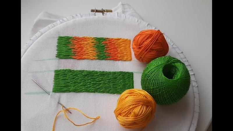 Вышивка гладью для начинающих Первые шаги Урок 2 Stitch embroidery for beginners Lesson 2