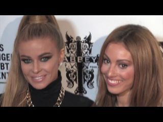 Carmen electra and gabrielle loren attends the marco marco collection three runway presentation at v