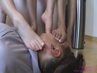 Amadahy Jenna and Jennifer - Humiliate and Abuse Old Man foot worship smelling fetish feet smother domination trample
