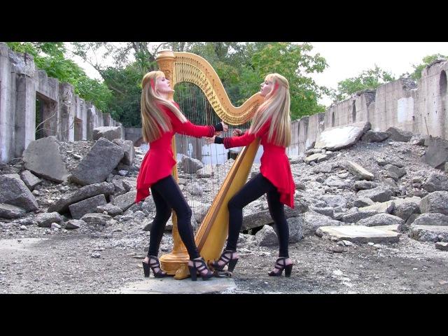 "METALLICA One"" 2 Girls 1 Harp Harp Twins HARP METAL"
