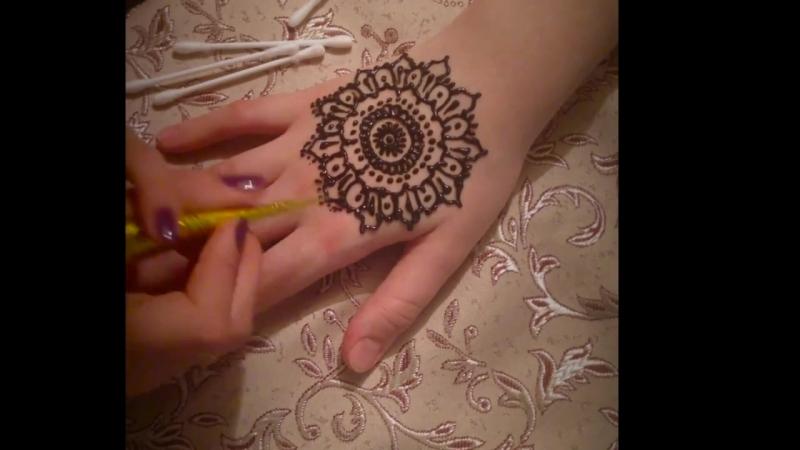 Видеообзор нанесения рисунка хной Golecha