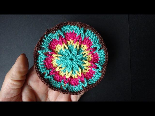 Crochet circle Круглый мотив с косичкой 345 урок