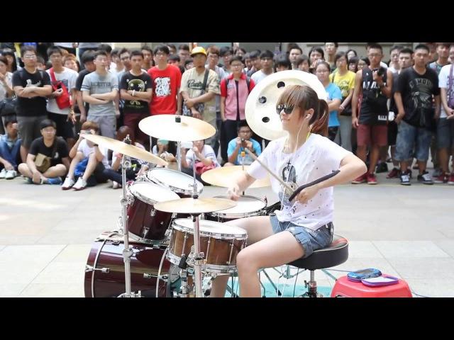 FANTASTIC BABY S WHITE Drummer Барабанщица виртуоз из Тайваня 爵士鼓 羅小白 นางฟ้าตีกลอง