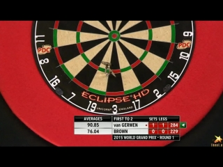 Michael van Gerwen vs Keegan Brown  (World Grand Prix 2015 / Round 1)