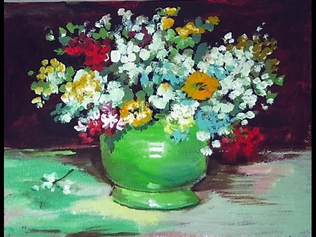 How to paint a Van Gogh Vase with zinnias and flowers 60 min tutorial