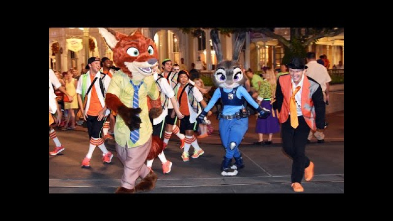 Nick Wilde Judy Hopps Dance w Zootopia Party Patrol at Mickey's Not So Scary Halloween Party 2016