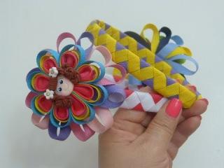 Diy diadema Zig Zag y flores kanzashi para el cabello./ headband tape