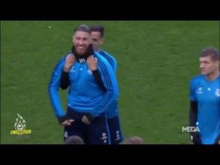 Las Bromas entre Sergio Ramos y Lucas Vazquez en el entrenamiento previ al partido ante El City
