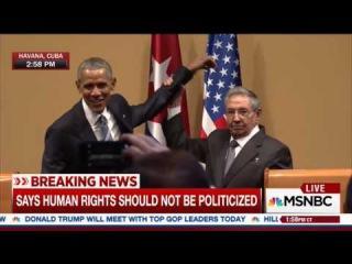 Рауль Кастро не дал Обаме похлопать себя по плечу 21 марта 2016 :