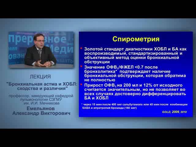 Бронхиальная астма и ХОБЛ сходства и различия проф Емельянов А В
