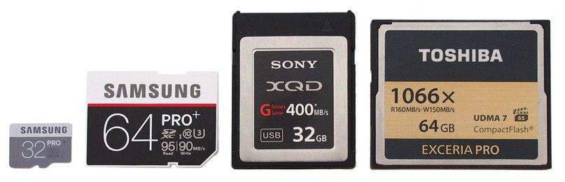 С лева на право: MicroSD, SD, XQD и CF
