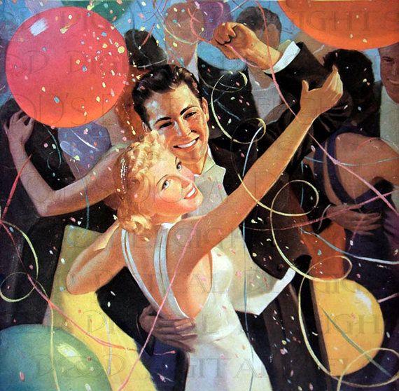 Открытка танцевальная с новым годом