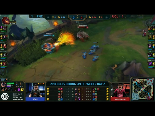 Fnatic vs Unicorns of Love Game 3 S7 EU LCS Spring 2017 Week 7 Day 2 FNC vs UOL G3 W7D2 1080p