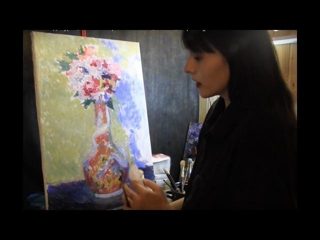 Цветы Ренуара полный видеоурок копии импрессионистов tutorial oil paiting