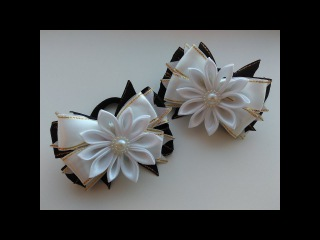 Нарядные школьные бантики из лент МК Канзаши/ School fancy ribbon bows Kanzashi MK