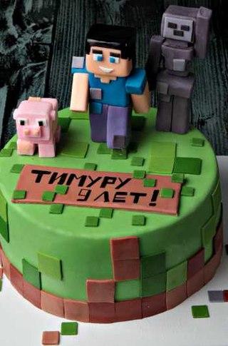 торт майнкрафт на день рождения #1