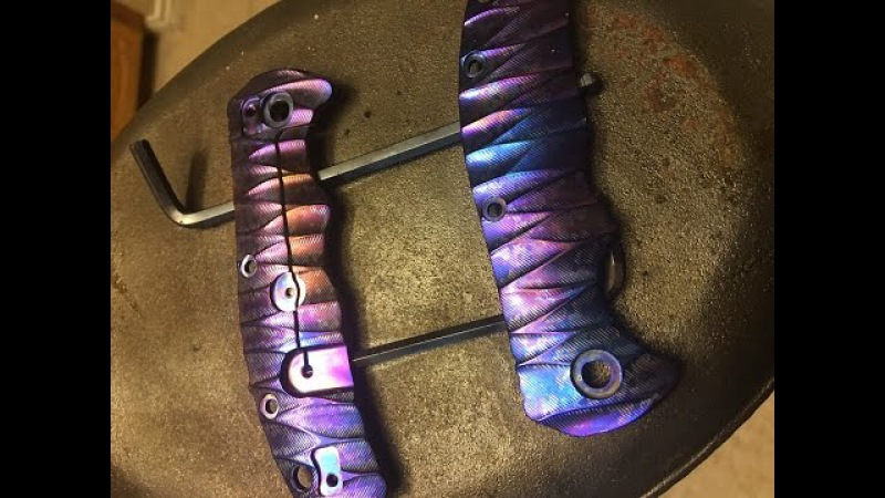 Heat anodizing coloring titanium knife scales