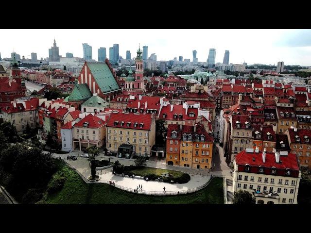 Panorama Warszawa Stare miasto 4K drone view