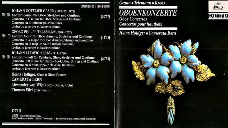 Graun Telemann Krebs Oboenkonzerte Heinz Holliger Camerata Bern
