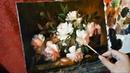 28 Рисуем РОЗЫ РУКАМИ. Как нарисовать розы в корзине маслом цветы маслом. Цветы букет маслом