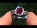HGT Certified UNHEATED Natural VS Red Ruby Diamond 14k White Yellow Gold Cocktail Ring - C770