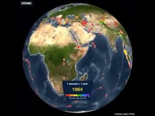 Карта землетрясений за xx век